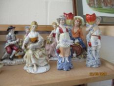 COLLECTION OF SIX VARIOUS CERAMIC FIGURES, TALLEST APPROX 20CM
