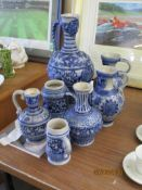 QUANTITY OF VARIOUS GERMAN GLAZED STONEWARE ITEMS INCLUDING VASES, JUGS ETC, LARGEST APPROX 42CM