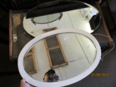 TWO VARIOUS OVAL OVERMANTEL MIRRORS, THE LARGER APPROX 74CM