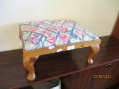 SMALL EMBROIDERED UPHOLSTERED STOOL, LENGTH 42CM