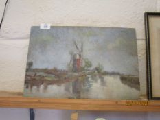 "UNFRAMED OIL ON BOARD DEPICTING A WINDMILL, TITLED VERSO ""MILL ON THE ANT"", WIDTH APPROX 39CM"