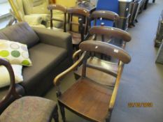 SET OF SIX DINING CHAIRS COMPRISING FOUR CHAIRS AND TWO CARVERS, HEIGHT APPROX 87CM