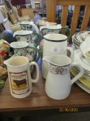 COLLECTION OF EIGHT VARIOUS JUGS INCLUDING PRIDE OF THE NORTH SPECIAL HIGHLAND WHISKY ETC
