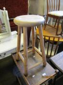 VINTAGE JOINTED PINE KITCHEN STOOL, HEIGHT APPROX 62CM