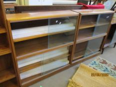 TWO MATCHING GLAZED DISPLAY CABINETS, EACH WIDTH APPROX 92CM