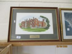 FRAMED PRINT DEPICTING LATIMER HOUSE TOGETHER WITH A MILITARY INTEREST INSCRIPTION, OVERALL SIZE