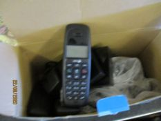 BOX CONTAINING A THREE PIECE CORDLESS DECT PHONE SET