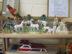 COLLECTION OF NINE VARIOUS FIGURES, MOSTLY STAFFORDSHIRE TYPE INCLUDING SPILL VASES TOGETHER WITH