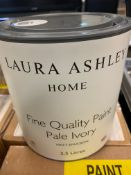THREE BOXED 2.5LTR TINS OF LAURA ASHLEY PAINT PALE IVORY