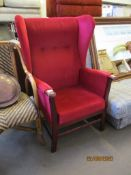 UPHOLSTERED FIRESIDE CHAIR, HEIGHT APPROX 110CM