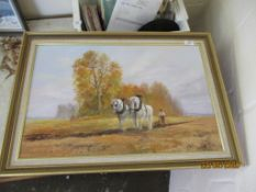 MODERN OIL PAINTING DEPICTING PLOUGHING WITH HORSES, TOTAL WIDTH INC FRAME APPROX 72CM