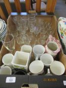 VARIOUS HOUSEHOLD GLASS AND CHINA ETC