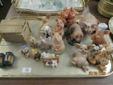 QUANTITY OF VARIOUS MOULDED PIG ORNAMENTS