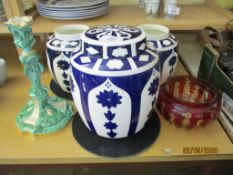 COLLECTION OF VARIOUS CERAMICS, GLASS, LARGEST GINGER JAR APPROX 22CM