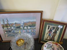 FRAMED EMBROIDERY DEPICTING A HARBOUR SCENE TOGETHER WITH A SMALL FRAMED PRINT, LARGER APPROX 47 X