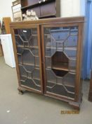 MID-20TH CENTURY ART DECO STYLE GLAZED MAHOGANY DISPLAY CABINET, WIDTH APPROX 92CM (GLASS A/F)
