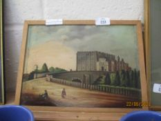 OIL ON BOARD, UNSIGNED, DEPICTING A CASTLE, POSSIBLY NORWICH, SIZE APPROX 31CM WIDE