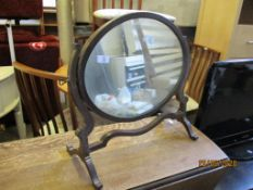 MID-20TH CENTURY OVAL TOILET MIRROR, MAX WIDTH APPROX 53CM
