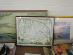 FRAMED REPRODUCTION MAP OF NORFOLK TOGETHER WITH TWO FRAMED PICTURES, THE MAP APPROX 54 X 43CM INC
