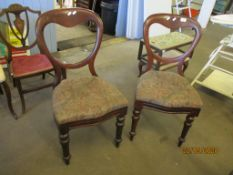 TWO VICTORIAN MAHOGANY BALLOON BACK CHAIRS, EACH HEIGHT APPROX 87CM