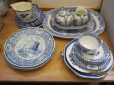 QUANTITY OF VARIOUS BLUE AND WHITE TABLE WARES INCLUDING AN EARLY 19TH CENTURY HAND DECORATED