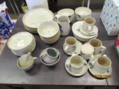 QUANTITY OF DENBY DAYBREAK DINNER PLATES (6), SIDE PLATES (8) AND DESSERT BOWLS (5) TOGETHER WITH