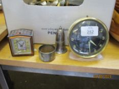 WESTCLOX 1960S ALARM CLOCK TOGETHER WITH A SMALL BAYARD ALARM CLOCK WITH INLAID DECORATION AND A