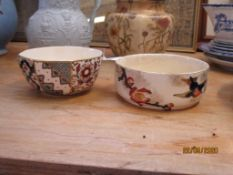 MASON'S APPLIQUE BOWL TOGETHER WITH A DOULTON JAVA BOWL, THE LARGER DIAM APPROX 13CM