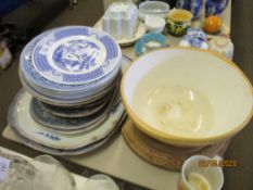 QUANTITY OF VARIOUS BLUE AND WHITE CHINA INC MEAT PLATES, TOGETHER WITH A GREEN & CO STONEWARE