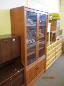 GLAZED WALL UNIT OR BOOKCASE, WIDTH APPROX 19CM