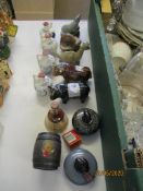 QUANTITY OF BESWICK AND OTHER WHISKY FLASKS SHAPED AS VARIOUS SCOTTISH ANIMALS, COWS ETC