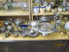 COLLECTION OF VARIOUS SILVER PLATED ITEMS INCLUDING TEA SETS, TAZZAS, SAUCE BOAT ETC, TOGETHER