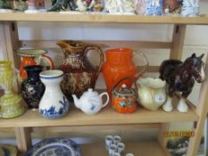 QUANTITY OF VARIOUS CERAMICS AND GLASS INCLUDING A TREACLE GLAZED WATER JUG, HORSE FIGURE ETC,