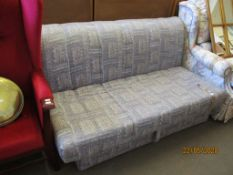 GEOMETRIC PATTERNED FOLDING SOFA BED, WIDTH APPROX 150CM