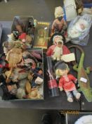 COLLECTION OF VARIOUS WORLD AND ETHNIC DOLLS INCLUDING SOME OLDER EXAMPLES INC BLACK SLEEPING