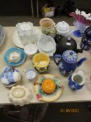 QUANTITY OF VARIOUS CERAMICS INCLUDING VICTORIAN JELLY MOULDS, INTERESTING CANDLE HOLDER AND SNUFFER