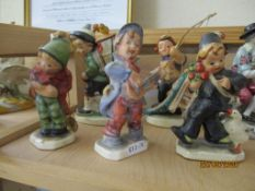 COLLECTION OF FIVE VARIOUS HUMMEL STYLE FIGURES, TALLEST APPROX 16CM