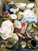 TWO BOXES OF HOUSEHOLD CLEARANCE ITEMS INCLUDING VARIOUS SAUCERS, PLATES ETC