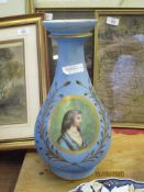 PARIS PORCELAIN STYLE BALUSTER VASE THE BLUE GROUND WITH A PANEL OF LADY PAINTED ON GREEN SURROUNDED