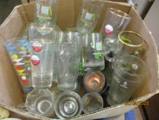 BOX CONTAINING LARGE QUANTITY OF VARIOUS BRANDED AND OTHER GLASSWARE