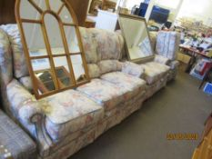 FLORAL FOUR PIECE SUITE COMPRISING THREE SEATER SOFA, TWO SEATER SOFA, ARMCHAIR AND POUFFE, THE