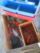 BOX CONTAINING VARIOUS PLASTIC CONTAINERS, OIL CAN ETC