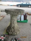 RECONSTITUTED STONE BIRD BATH, HEIGHT APPROX 40CMS