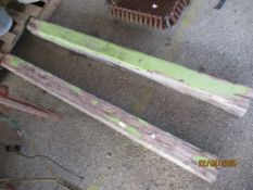 TWO HEAVY WOODEN GATE POSTS, EACH APPROX 12CMS SQUARE