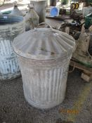 GALVANISED BIN WITH LID