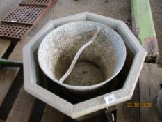 VINTAGE GALVANISED COLANDER TOGETHER WITH A PLANTER
