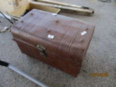 SMALL TIN TRAVELLING TRUNK, LENGTH APPROX 55CMS