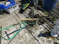 THREE VARIOUS VINTAGE PUSH MOWERS INCLUDING A SUFFOLK POPULAR