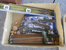BOX CONTAINING VARIOUS VINTAGE TOOLS ETC