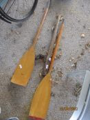 BOAT RELATED INCLUDING PAIR OF OARS, TILLER ETC